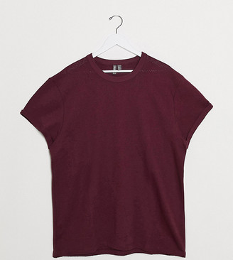 ASOS DESIGN Plus t-shirt with roll sleeve in burgundy heavyweight fabric