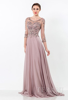 Terani Evening - Intricate Scoop Illusion A-Line Gown 1521M0636G