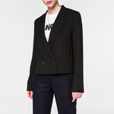Paul Smith Women's Cropped Black Merino Wool Evening Blazer