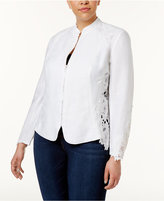INC International Concepts Plus Size Lace-Inset Jacket, Only at Macy's