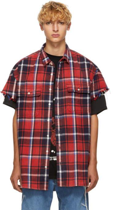 R 13 Red Cut-Off Shirt