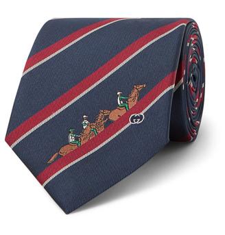 Gucci 7.5cm Striped Embroidered Silk-Twill Tie