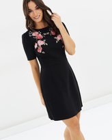 Oasis Rose Embroidered Pencil Dress