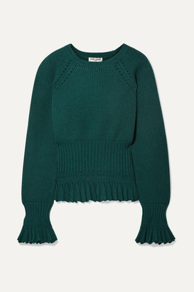 Opening Ceremony Ruffled Pointelle-trimmed Knitted Sweater - Emerald