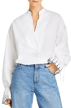 See by Chloe Embroidered Balloon-Sleeve Blouse