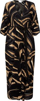 Lisa Marie Fernandez Adwoa Zebra-Print Devore Caftan Dress