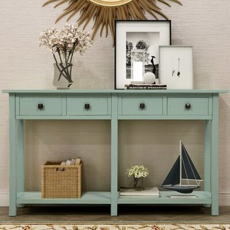 """Dovecove 59"""" Solid Wood Console Table Color: Tiffany Blue"""