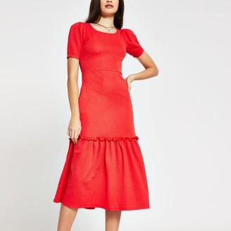 River Island Womens Red puff sleeve Smock Midi dress