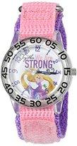 Disney Girl's 'Rapunzel' Quartz Plastic and Nylon Automatic Watch, Color:Purple (Model: W002971)