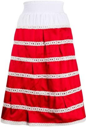 Prada Broderie Anglaise Striped Skirt