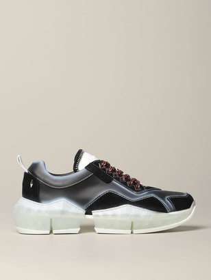 Jimmy Choo Diamond Sneakers In Leather And Suede