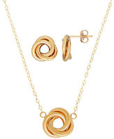 Lord & Taylor Two Piece 14K Yellow Gold Love Knot Postback Earrings and Necklace Set