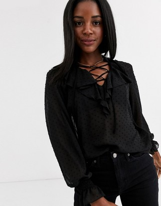 New Look frill blouse in black