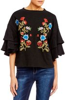Blu Pepper Embroidered Tiered Ruffle Sleeve Sweater