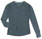 Nike Womens Dri FIT Wool V Neck Running Shirt Grey XL