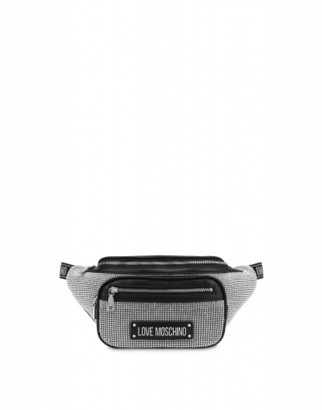 Love Moschino Waist Bag With Crystals Woman Silver Size U It - (one Size Us)