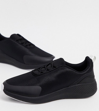 ASOS DESIGN Wide Fit mesh trainers in black