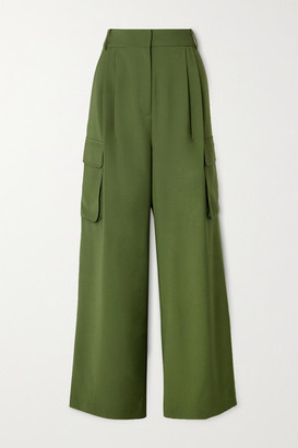 Tibi Tropical Pleated Woven Wide-leg Pants - Army green