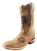 Nocona Georgia Brown Cowhide Branded Men 2e Square Toe Leather Western Boot.
