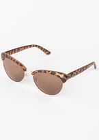 Missy Empire Sasa Brown Leopard Print Half Frame Sunglasses