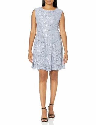 Sandra Darren Women's 1 PC Extended Shoulder Sequin Fit & Flare Dress
