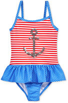 Penelope Mack 1-Pc. Anchor Away Striped Swimsuit, Toddler Girls (2T-5T) & Little Girls (2-6X)