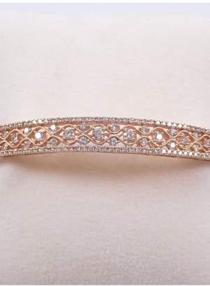 Margolin & Co 14K Rose Gold 2.00 carat Diamond Bangle Bracelet Cuff Unique Filigree Bracelet