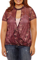 Self Esteem Short Sleeve Keyhole Neck Knit Floral Blouse-Juniors Plus