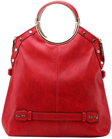 Red Riveted Ring-Handle Fold-Over Tote