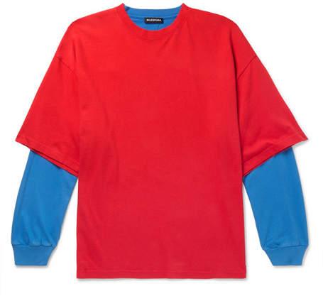 Balenciaga Oversized Layered Two-Tone Cotton-Jersey T-Shirt