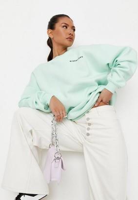 Missguided Lime Oversized Sweatshirt