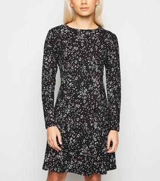 New Look Petite Animal Print Soft Touch Skater Dress