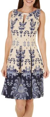 Gabby Skye Women's Sleeveless Round Neck Knit A-line Dress