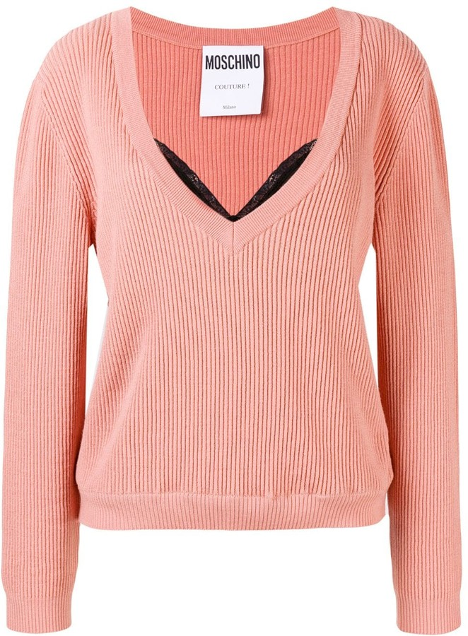 bfd46a7fbd3 layered ribbed knit sweater