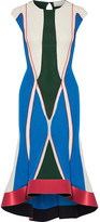 Esteban Cortazar Asymmetric Satin-trimmed Color-block Stretch-knit Midi Dress - Blue