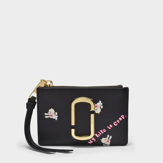 Marc Jacobs Top Zip Multi Wallet In Black Leather