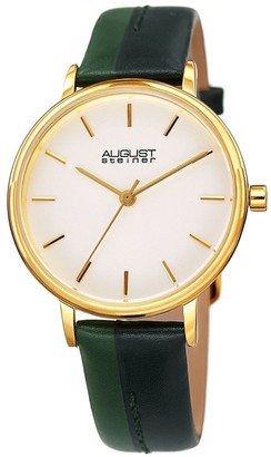 August Steiner Ladies Classic Pine Green Leather Strap Watch