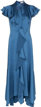 Peter Pilotto Tie-Neck Ruffled Dress