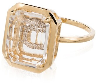 Mateo 14kt gold C initial ring