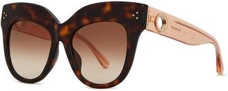 Linda Farrow Luxe Dunaway Tortoiseshell Oversized Sunglasses