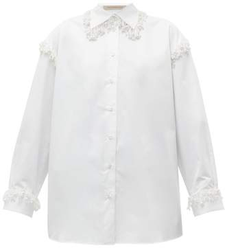 Christopher Kane Faux Pearl-embellished Oversized Cotton Shirt - Womens - White