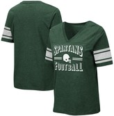 Colosseum Women's Green Michigan State Spartans Blue Blood Football V-Neck T-Shirt