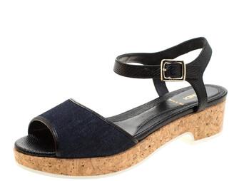 Fendi Blue Denim And Black Lizard Embossed Leather Cork Platform Ankle Strap Sandals Size 38