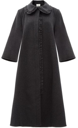 Molly Goddard Charlene Frilled Wool-blend Coat - Grey