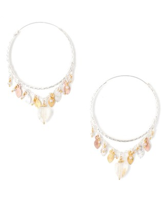 Chan Luu Sterling Silver Semi-Precious Stone Hoop Earrings