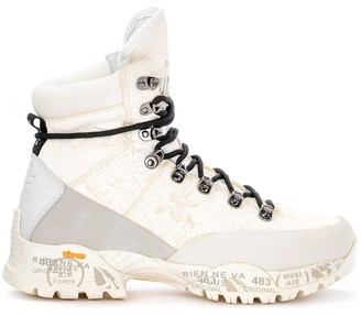 Premiata Midtrec 171 Boot Made Of Cracked Leather And White Fabric