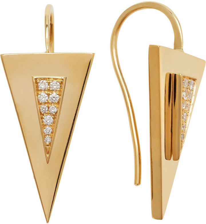 Janis Savitt Diamond-Center Arrow Earrings