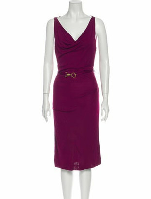 Gucci Cowl Neck Midi Length Dress Purple