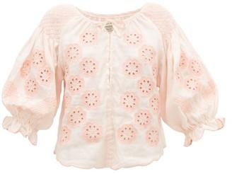 Innika Choo Oliver Daily Embroidered Linen-poplin Blouse - Womens - Light Pink