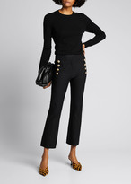 Cropped Flare Trousers w/ Sailor Buttons, Midnight